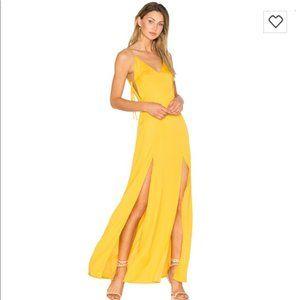Capulet Gina Plunging Satin Yellow Maxi Dress S